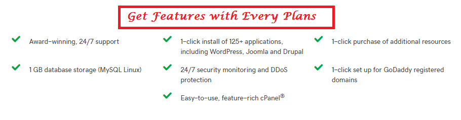 godaddy shared hosting features